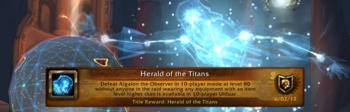 Desafio pré-Pandaria: Arauto dos Titãs (Herald of the Titans)