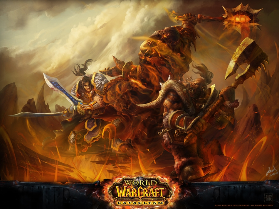 Garrosh_and_Varian_fighting_Deathwing