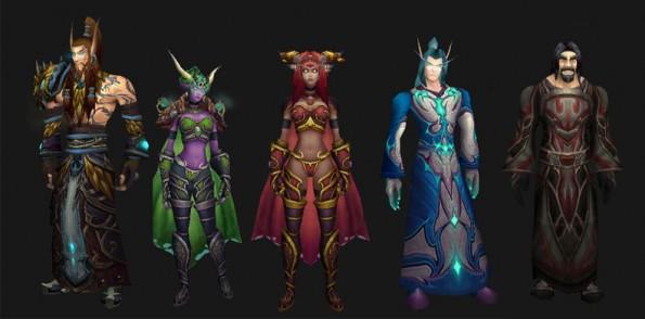 Nozdormu, Ysera, Alexstrasza, Malygos e Neltharion, respectivamente, em suas formas humanóides.