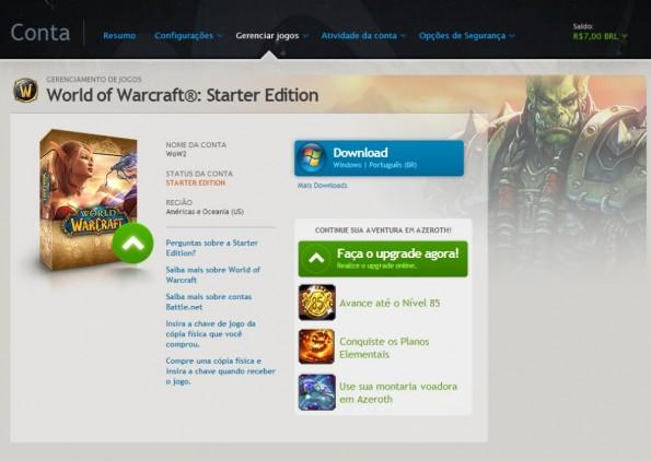 Tela da Starter Edition, mostrando o Battle Chest com o Cataclysm integrado