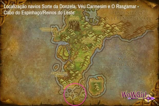 Localização navios Sorte da Donzela, Véu Carmesim e O Rasgamar -Cabo do Espinhaço/Reinos do Leste