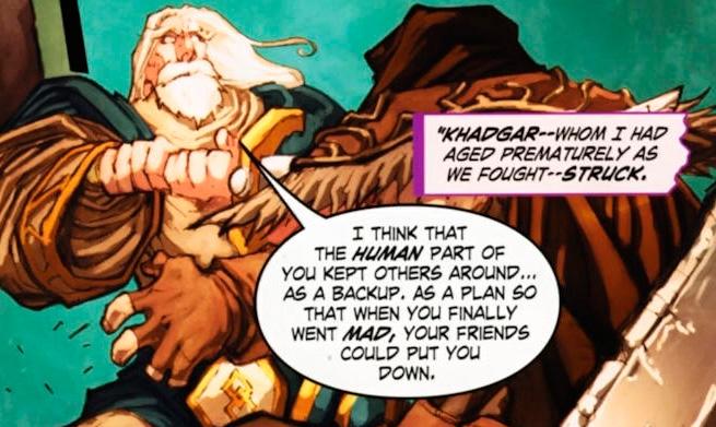 Hadggar perfurando o coração do mestre com a espada no Comic. Em seguida, Lothar seria o responsável pela derrota de Medivh