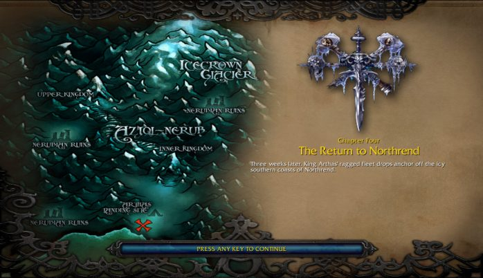Caminho que Arthas terá de percorrer para chegar em Coroa de gelo [Icecrown]