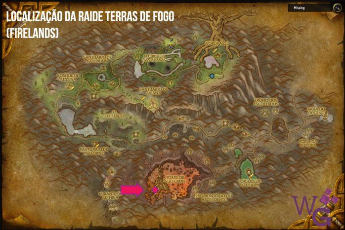 Localização Raide Terras do Fogo - Firelands .
