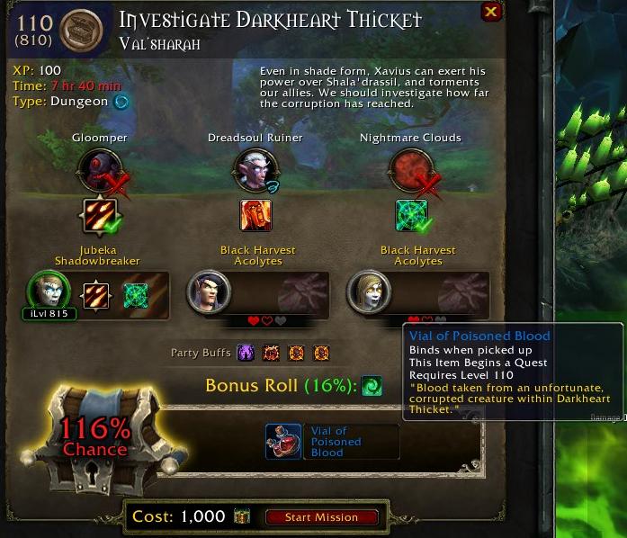 Essa missão no caso é para uma das masmorras novas, Darkheart Thicket.